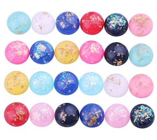 (60pcs Mix Color 12mm Round Flat Back Resin Cabochon Cameo Opal Stone Colored Gold foil Cabochons for Bezel Tray Earrings Pendants Rings Bracelet Necklace Jewelry Making)