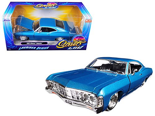 (Jada 98935 1967 Chevrolet Impala Blue Lowrider Series Street Low 1/24 Diecast Model)