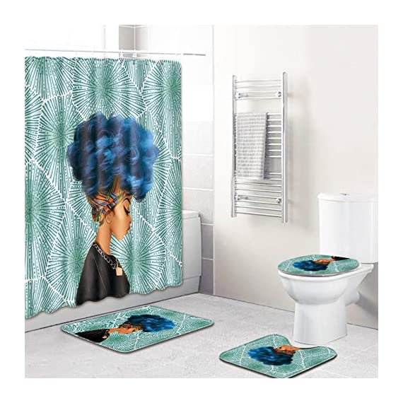 Traditional African Black Women Shower Curtain Bathroom mat Set - Product material: polyester Product composition: This product includes 1 shower curtain, 3 bathroom mats. Shower curtain features: The shower curtain has a higher density of knitting, and the effect of blocking light is very good. There are 12 sturdy hooks in the product package, so you can easily install the shower curtain for long-term use. - shower-curtains, bathroom-linens, bathroom - 512c4D2rZKL. SS570  -