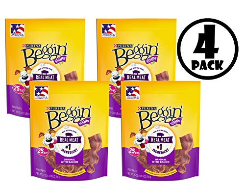 Purina Beggin' Strips Dog Training Treats; Original with Bacon - 25 oz. Pouch, 4 Pack