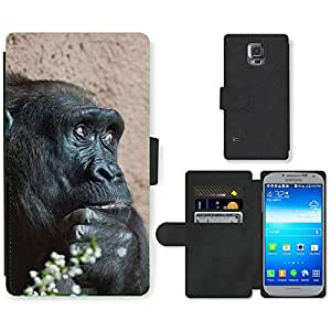Super Stella Cell Phone Card Slot PU Leather Wallet Case // M00149644 Africa Animal Ape Big Black // Samsung Galaxy S5 S V SV i9600 (Not Fits S5 ACTIVE)