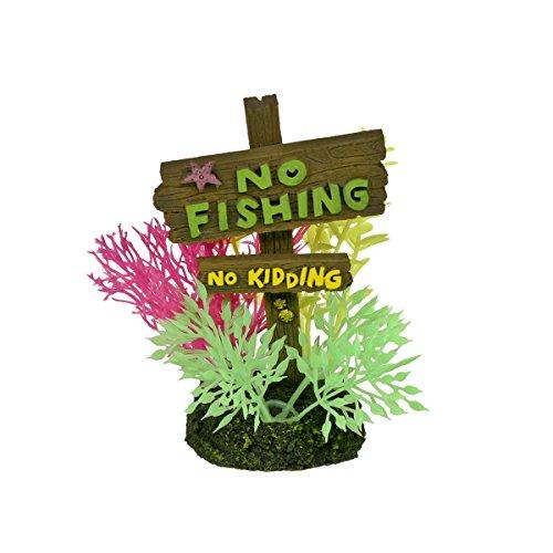 Fishing Ornament Aquarium (Blue Ribbon PET PRODUCTS EE-1143 Exotic Environments No Fishing No Kidding Sign, Small)
