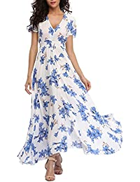 Women's Floral Print Maxi Dresses Boho Button Up Split...