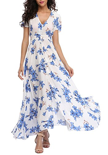 VintageClothing Women's Floral Print Maxi Dresses Boho Button Up Split Beach Party Dress, White&Blue, M