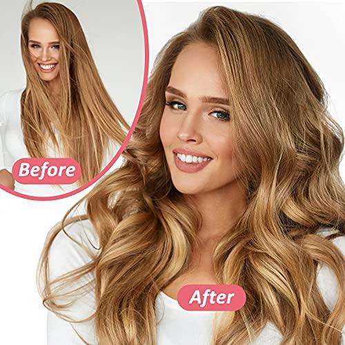 Heatless Hair Curling Rod Headband for Long Medium hair,DIY No Heat EVA Hair Curler,Soft Foam Hair Rollers,Curling Ribbon and Flexible Rods(Pink)