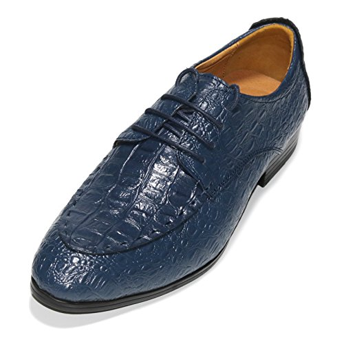 MVVT Men's Crocodile Oxford Shoes Lace Up Dress Leather shoes (7.5D(M) US, Blue) - Crocodile Leather Shoes