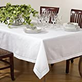 SARO LIFESTYLE 6100.W65104B Hemstitched Cotton and Linen Tablecloth, White, 65'x104'