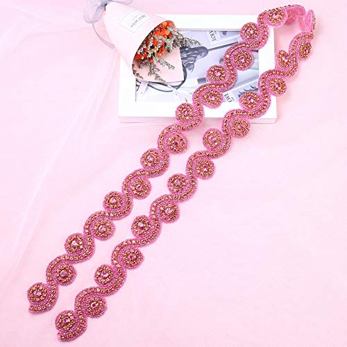 Crystal Applique for Dress, Lucky Goddness 1 Yard Wedding Trim with Pink Rhinestone and Gold Claws. Best for DIY Decorate Your Pink Princess Dream