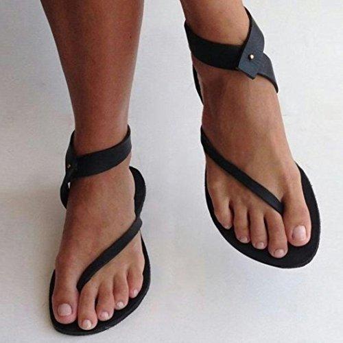 Beach Flach Ankle Sandalen Lässige Party Sommer Schuhe Damen Sandalen Römergurt Schwarz VJGOAL Schuhe Tanga Damen x0YwH