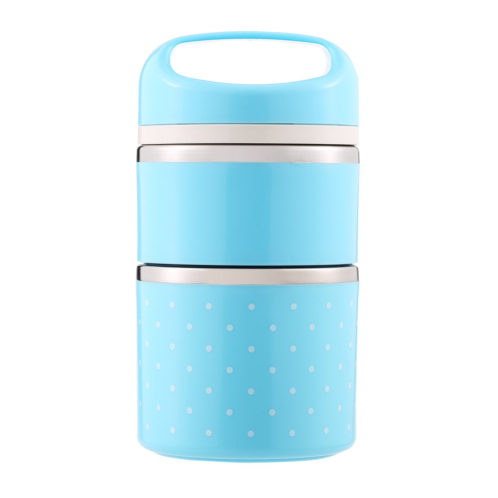 Decdeal Stainless Steel Thermal Lunch Box,1080ml 2-Layer,Light Blue