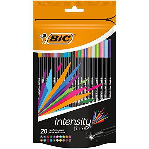 BIC 12 Intensity Fineliner Pen - Assorted Pack of 20 (Permanent Pen Papermate)