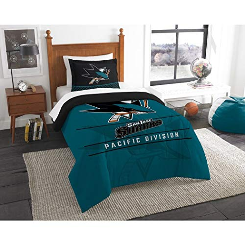 2 Piece Hockey League Sharks Comforter Twin Set, Sports Patterned Bedding, Team Logo Fan Merchandise Athletic Team Spirit, Black Blue Orange, Polyester Unisex