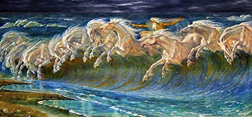 Wooden Jigsaw Puzzle - Neptune's Horses by Walter Crane - 404 Unique Wooden Pieces - Made in The USA by Nautilus Puzzles - Challenge Any Puzzle Lover