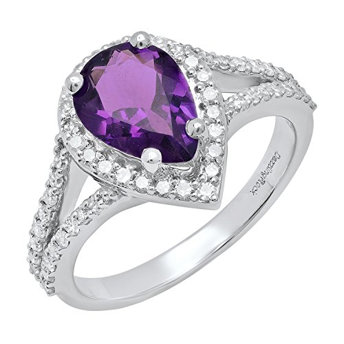 Dazzlingrock Collection 14K 10X7 MM Pear Amethyst And Round Diamond Ladies Engagement Ring, White Gold, Size 7 ()