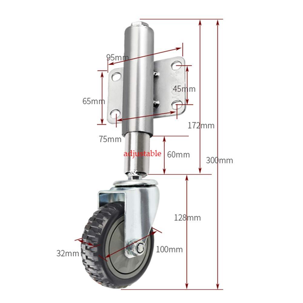 roulettes Tout Terrain Hauteur Ajustable 60 mm roulettes pivotantes Charge Lourde de 4 Pouces // 100 mm roulettes de Portail /à Ressort Noir,Portance 80 kg