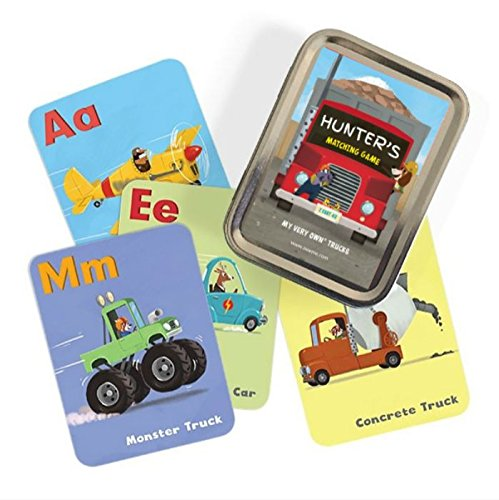 (Personalized Matching Memory Game ABC Flash Cards Trucks)