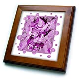 3dRose Taiche - Acrylic Painting - Peace Doves - Dove With Celtic Peace Text In Pink Tones - 8x8 Framed Tile (ft_273658_1)