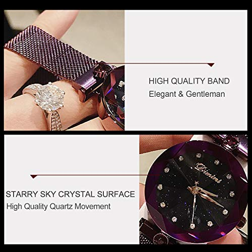 RORIOS Fashion Analogue Quartz Watches Magnetic Mesh Band Starry Sky Dial Simulated Diamond Wrist Watches for Girl/Women Waterproof by RORIOS (Image #4)
