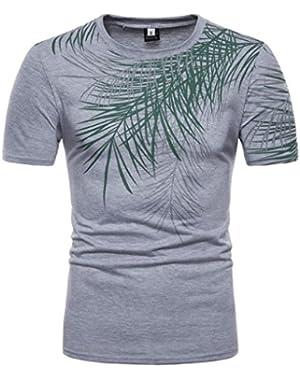 Top Blouse Men's Stripe Print O Neck Pullover Short Sleeve T-Shirt