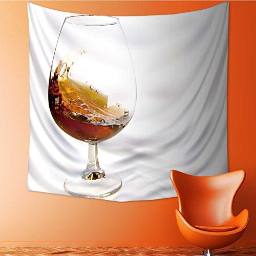 AuraiseHome Polyester Fabric Wall Decor Flowing Cognac in Glass on White Ground Wall Hanging Bedroom Living Room Dorm Home Decor Tapestry32W x 32L Inch