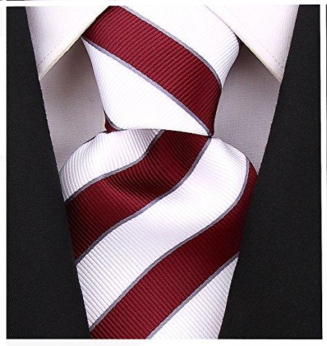 College Striped Ties for Men - Woven Necktie - Burgundy w/White -