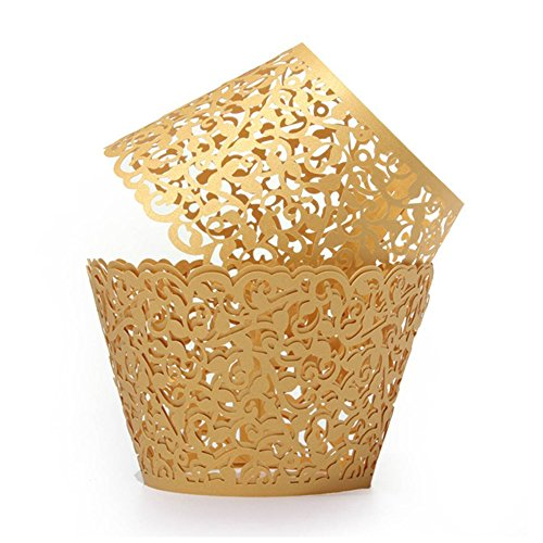 UNIQLED Filigree Artistic Bake Cake Paper Cups Little Vine Lace Laser Cut Liner Cupcake Wrappers Baking Cup Muffin Holder Case for Wedding Birthday Party Decoration (100, Gold)