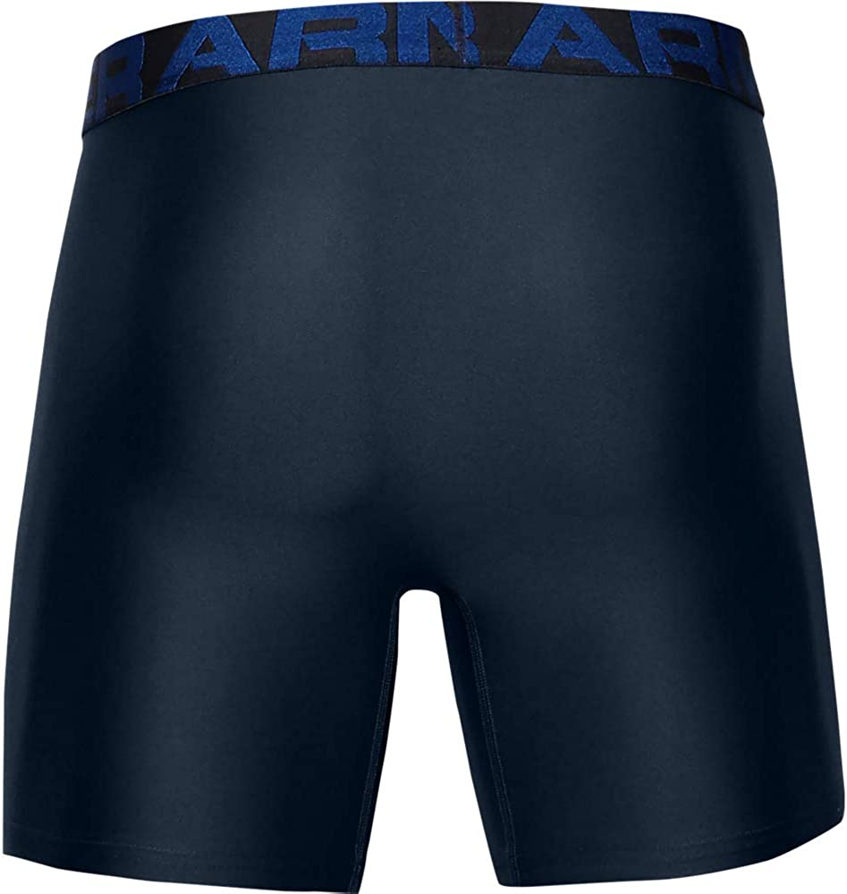 Under Armour Mens Tech 6in 2 Pack Boxer Briefs Offering Complete Comfort XXL Blue Fast-Drying Underwear