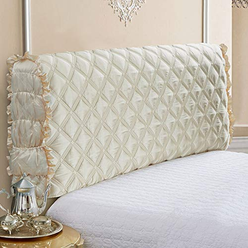 - Bed Headboard Slipcover Dustproof Cover Protector Stretch Solid Color Sofa Queen King Bed Large Soft Upholstered For Bedroom Decor,Beige-22065cm