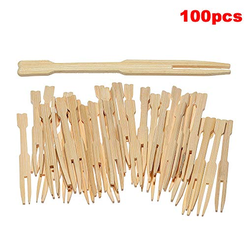 Bamboo Forks 100pcs Disposable Food Picks Mini Bamboo Forks for Fruit Cocktail Pastry Dessert Home Party Banquet Buffet, 3.5 Inch ()