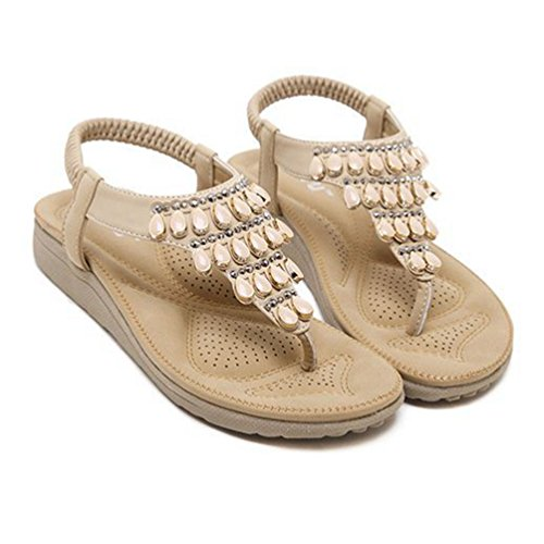 Bas Flops Strass d'été Abricot de Fashion Talons élastiques avec Chaussures Sandales Flip Plage Womens Bohème BqnYng0F