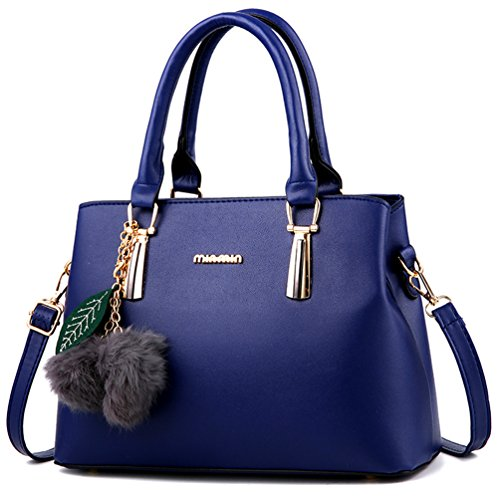 Dreubea Women's Leather Handbag Tote Shoulder Bag Crossbody Purse Blue