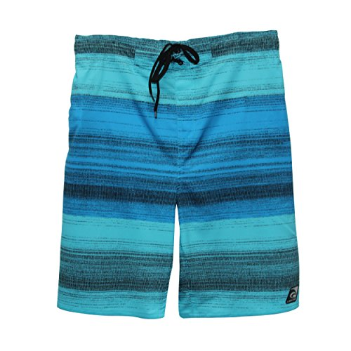 Laguna Men's Stretch Santa Cruz Stripes E-Boardshort Blue Large (Santa In Blue Suit)