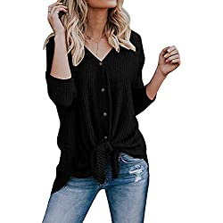 a5f6a3fd Womens Loose Fitting Henley Shirts Button Down Long Sleeve High Low Front  Tie Tops Black