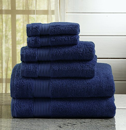 6-Piece Luxury Hotel / Spa 100% Turkish Cotton Towel Set, 600 GSM. Includes Bath Towels, Hand Towels and Washcloths. Grace Collection By Great Bay Home Brand. (Estate Blue)