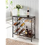 Kings Brand Furniture Metal With Marble Finish Top Console Table With Wine Rack
