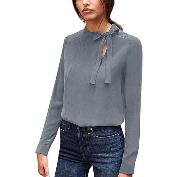 Camisas Mujer, ZODOF Moda Mujer Casual Manga Larga Cuello Vendaje sólido Camisa Suelta Tops Blusa Ropa: Amazon.es: Ropa y accesorios