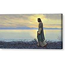 """""""Walk With Me"""" by Greg Olsen, Canvas Print Wall Art, 16"""" x 8"""", Mirrored Gallery Wrap, Glossy Finish"""