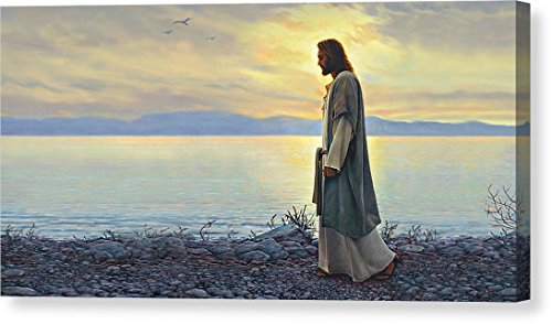 ''Walk With Me'' by Greg Olsen, Canvas Print Wall Art, 16'' x 8'', Mirrored Gallery Wrap, Glossy Finish by Pixels