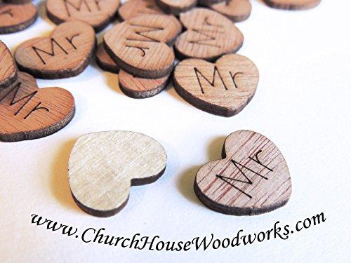 100 Mr Mrs Bride Groom Wood Hearts, Wood Confetti Engraved Love Hearts- Rustic Wedding Decor- Table Decorations- Tiny Wooden (Groom Wedding Confetti)