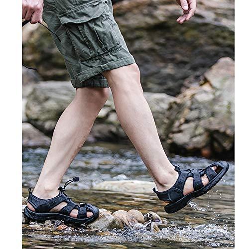 adecuados cómodos Zapatos Punta para Zapatos Interior Abierta con Exterior Deportes Sandalias de Cuero Ocio Ajustables Hombres y para de Antideslizantes Bdgnqgwrx7