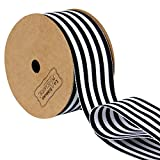 LaRibbons Black and White Striped Grosgrain Ribbon/Gift Wrap Ribbon, 1-1/2 Inch by 10 Yard/Spool