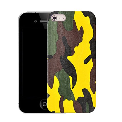 Mobile Case Mate IPhone 5S clip on Silicone Coque couverture case cover Pare-chocs + STYLET - yellow camoflage pattern (SILICON)