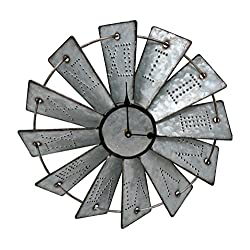 Gianna's Home Rustic Farmhouse Metal Windmill Wall Clock (14.5)