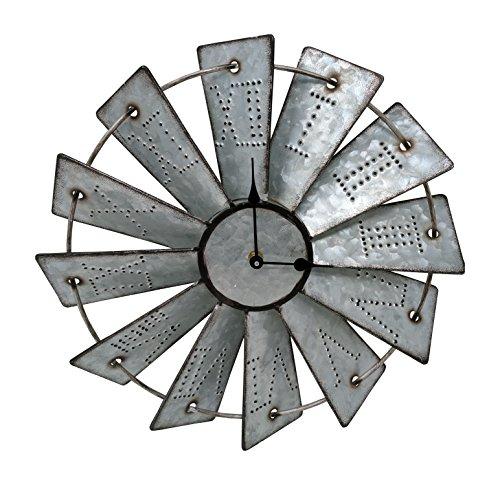 Gianna's Home Rustic Farmhouse Metal Windmill Wall Clock (14.5