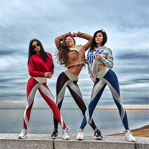 tqmarket Women Digital Printed Sport Yoga Elastic Stretchy Slim Fit Femme Jogging Leggings(Blue,XL)
