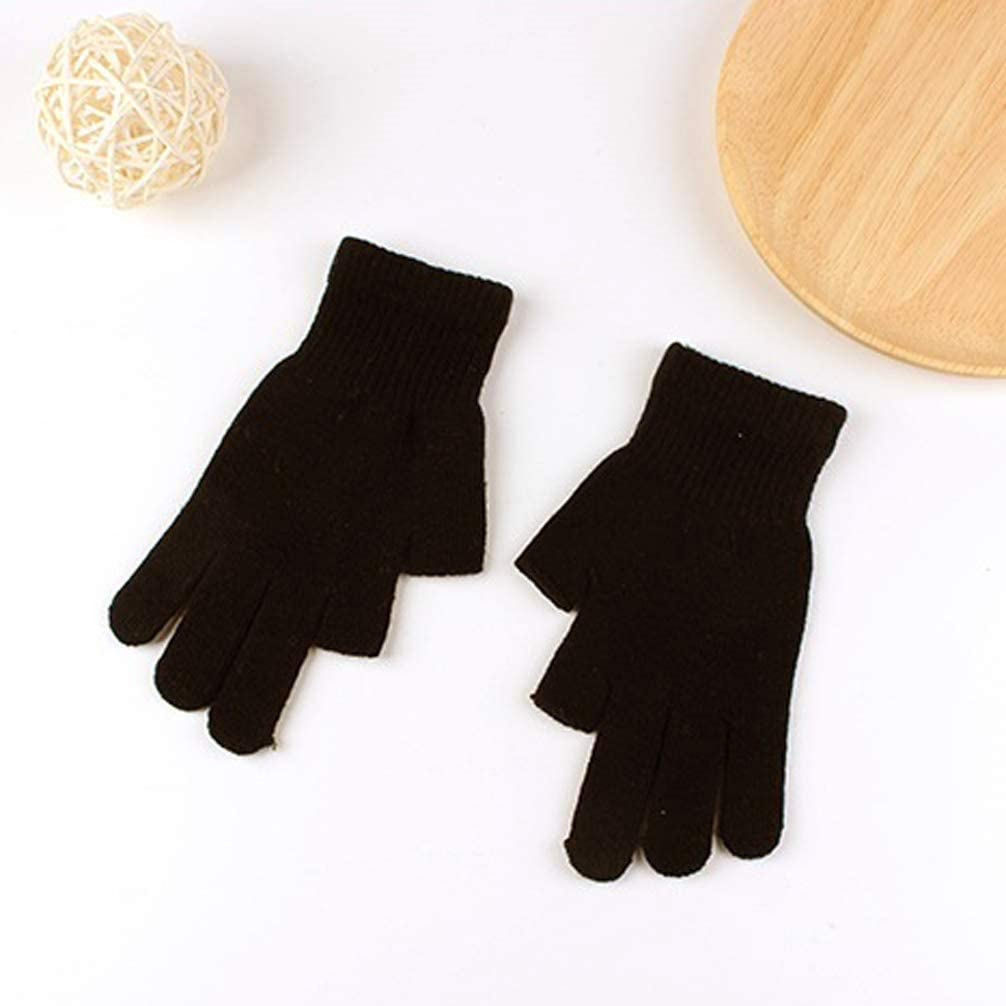 Writing Cycling Driving Index Finger and Thumb Fingerless Mitten for Photography Brown Luwint Touch Screen Thin Knit Gloves