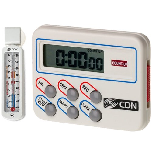 CDN TM8 Digital Timer and Clock Memory Feature with Customized Economy Refrigerator/Freezer Thermometer Bundled Set