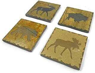 product image for Rustic Natural Slate Coaster Set: Bear, Buffalo, Elk, and Moose
