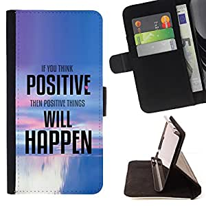 DEVIL CASE - FOR HTC One M8 - Positive Thinking Things Happen Quote - Style PU Leather Case Wallet Flip Stand Flap Closure Cover