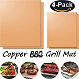 Copper Grill Mat - Copper Mat Oven Liners BBQ Baking Mat, Reusable 100% Non-Stick BBQ Grill Mat, Easy to Clean- PTFE Teflon Fiber Grill Roast Sheets for Gas, Charcoal, Electric Grill (Copper-Set of 4)